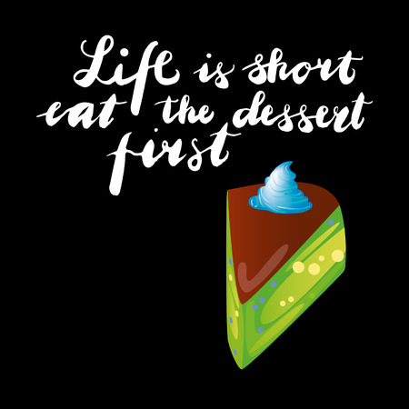 Sign Life is the first dessert and animation isolated on background, icon symbol for your web site design, icon, poster. Vector illustration. Standard-Bild - 107618049
