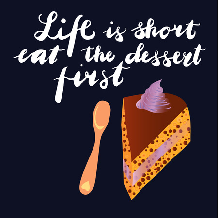 Sign Life is the first dessert and animation isolated on background, icon symbol for your web site design, icon, poster. Vector illustration. Illustration
