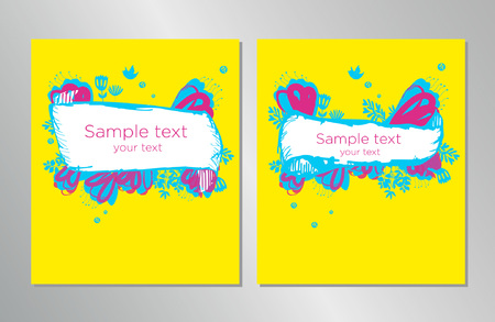 Book cover design Template. Can be adapted to Brochure, Annual Report, Magazine, Poster, Corporate Presentation, Portfolio, Flyer, Banner. Hand drawn design elements. Illustration