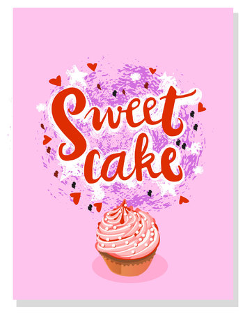 Sign Sweet cake for your website design, icon, poster. Hand drawn design elements. Vector illustration. Illustration