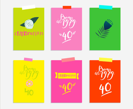 Sign: born in 1979. Vector illustration of brightly colored background with floral sign, 40, minimal dynamic cover design. Poster template, celebration card, invitation card. Illusztráció