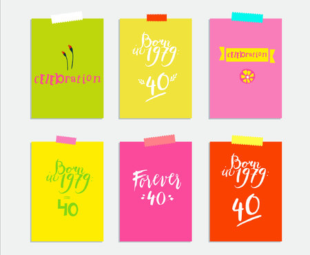 Sign: born in 1979, celebration. Vector illustration of bright color background with flower, sign, 40, minimal dynamic cover design. Poster template, celebration card, invitation card.