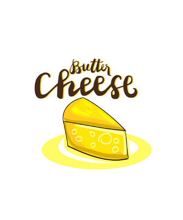 Sign Butter Cheese and cheese isolated on a white background, symbol for your web, label, icon, poster, minimal dynamic cover design. Hand drawn design elements. Vector illustration.