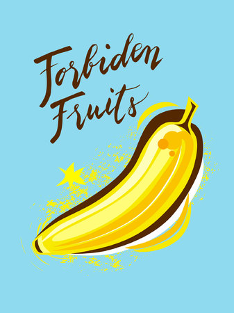 Sign Forbiden Fruits and Animation of Banana, icon for your web, label, icon, poster, minimal dynamic cover design. Hand drawn design elements. Vector illustration. Banque d'images - 113772906