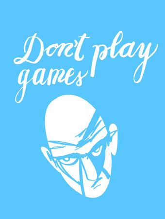 Znak Nie graj w gry i obrazek twarzy, ikona dla Twojej sieci, etykieta, ikona, dynamiczny design. Ręcznie rysowane elementy projektu. Ilustracja wektorowa.