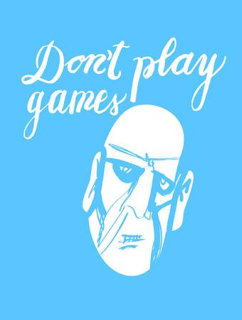 Znak Nie graj w gry i obraz twarzy, ikona dla Twojej sieci, etykieta, ikona, dynamiczny design. Ręcznie rysowane elementy projektu. Ilustracja wektorowa. Ilustracje wektorowe