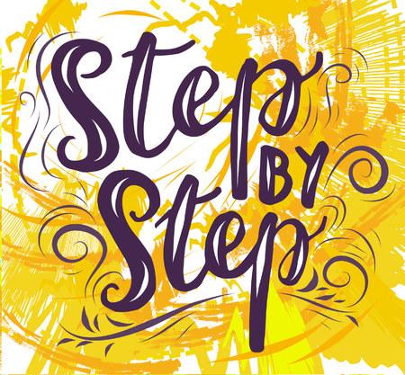 Znak kaligrafii Krok po kroku, ikona dla Twojej sieci, etykieta, ikona, dynamiczny design. Ręcznie rysowane elementy sztuki. Ilustracja wektorowa.
