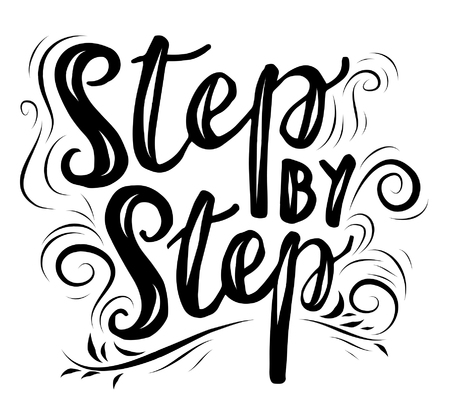Sign Step by step, icon for your web, label, dynamic design. Hand drawn art elements. Vector Illustration.