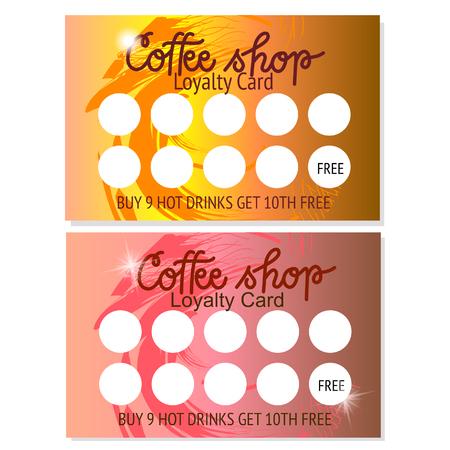 Ensemble de deux modèles de bons de café ou de cartes de visite. Conception abstraite. Illustrateur de vecteur.