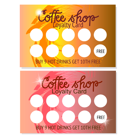 Set of two coffee shop voucher or business card templates. Abstract design. Vector illustrator. Illustration