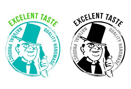 Excelent taste drink symbols, food and man hat silhouettes, quality handmade, vector collection images , labe