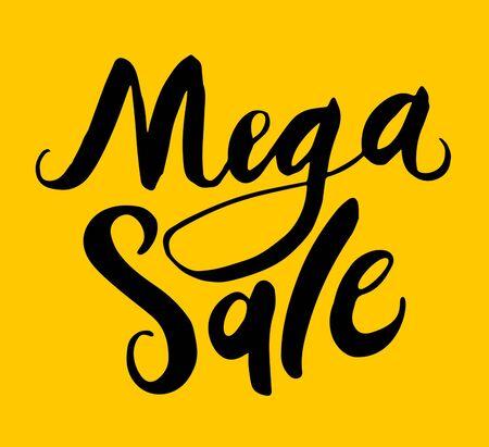 Sign Mega Sale, icon, minimal dynamic design. Limited Offer Mega Sale banner. Sale poster. Hand drawn element, calligraphic.