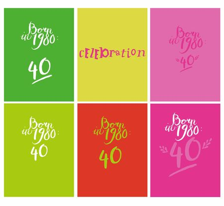 Sign: Born in 1980, celebration. Vector illustration of bright color background with flower, sign, 40, minimal dynamic cover design. Vector Illustration Keywords: