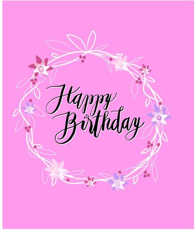 Sign: Happy Birthday with Floral Background. Vector Illustration Keywords: Illustration