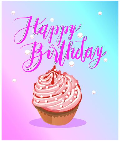 Sign: Happy Birthday With Muffin On Yellow Background. Vector Illustration.