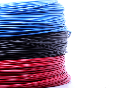 Colorful cable on white background  photo