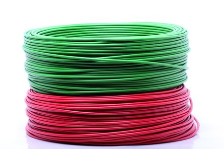 Cable de colores sobre fondo blanco photo