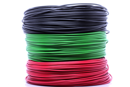 electrical wire: Colorful cable on white background