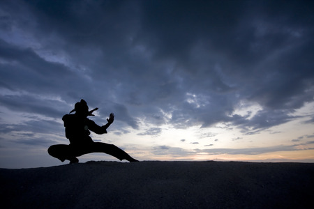 Silhouette des jungen Jungen eine Pencak Silat, Malaiisch traditionelle Disziplin Kampfkunst durchführen