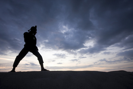 disciplina: Silueta del muchacho joven que se realiza un Pencak Silat, disciplina tradicional malayo de artes marciales