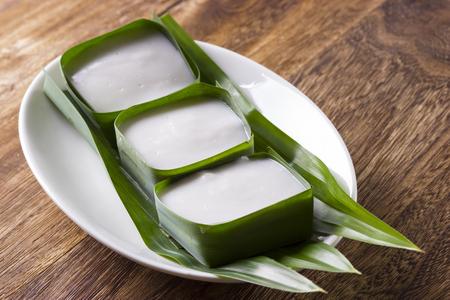 Tepung Pelita cakes with Pandan leaf Stock Photo