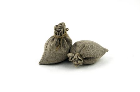 tresure: Cloth bag isolated on white Stock Photo