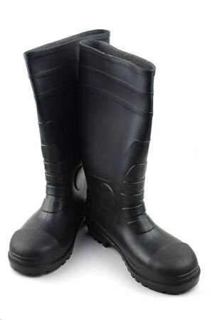 wellies: Black rubber boots