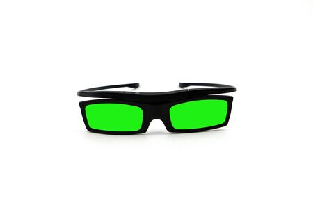 fellings: Green 3d Glasses isolated on white Stock Photo