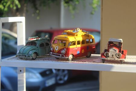 Old and small model cars Stock Photo
