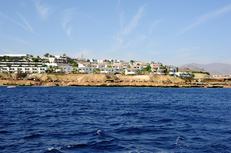 naama bay: View from the sea on the coast of Egypt Stock Photo