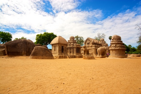 mamallapuram: five rathas in mahabalipuram, tamil nadu, india Stock Photo