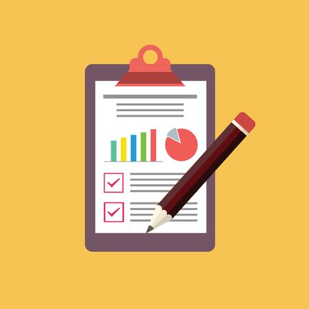 Clipboard and checklist with pencil,Flat illustration of clipboard with checklist icon for web 스톡 콘텐츠 - 132043469