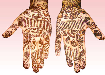 desing: mehendi design on hands isolated on background