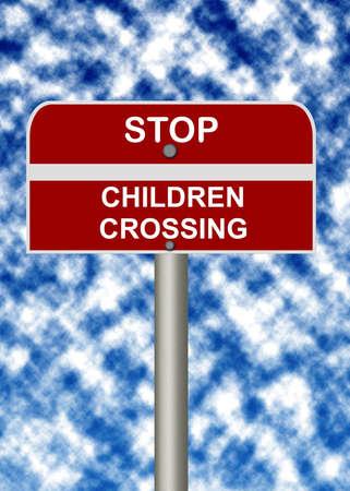 Stop children crossing signpost photo