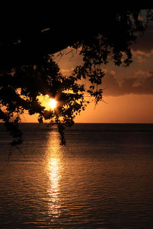sunsetting on the tropical island of Mauritius Stock Photo