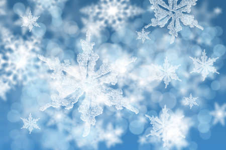 shinning light: sparkling snowflakes background. Stock Photo