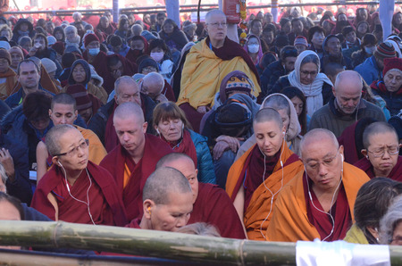 Bodhgaya, India, 05 Jan 2018-The Holiness 14th Dalai Lama addressed a gathering during the special teaching session at kalachakra ground in Bodhgaya. India.