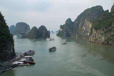 Ha long, Vietnam- November 30,2019: A panoramic view of Ha Long bay , cliffs and boats . Ha long bay is situated north of Hanoi in Vietnam.