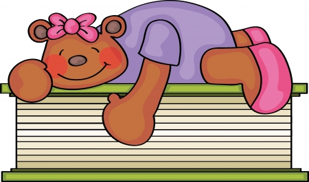 Teddy Bear Lying on a Book Vector