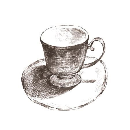 ceramics: sketch cup. elegant cup and saucer. Retro ceramics cup of tea and coffee.Vector illustration