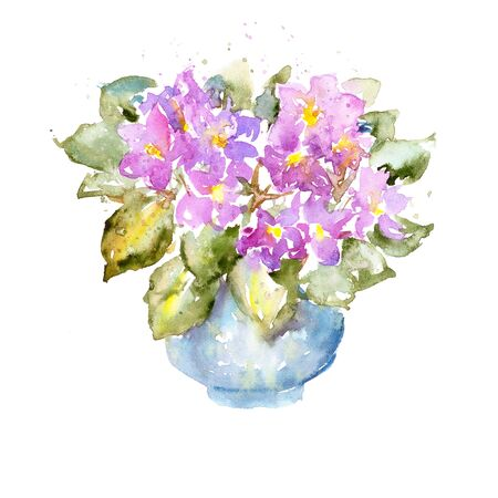 bunch flowers: Sketchy colorful watercolor painting on white paper. Bright purple flowers and lush green leaves Illustration