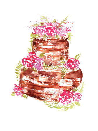 watercolor wedding chocolate cake with pink flowers and leaves. Vectores