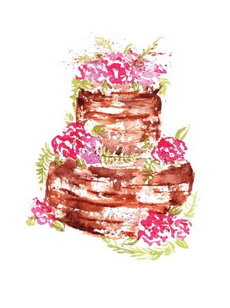 porcion de torta: torta de chocolate de la boda de la acuarela con las flores y las hojas rosadas. Vectores
