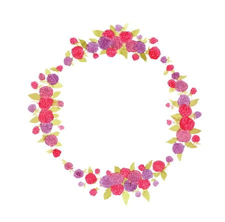 raspberries: watercolor wreath of raspberries. Illustration