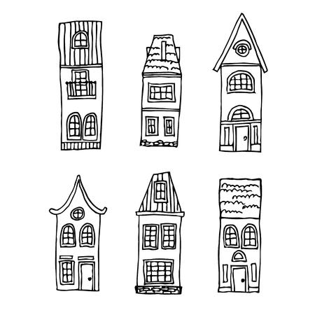 european culture: set of vintage homes. Vector illustration architecture