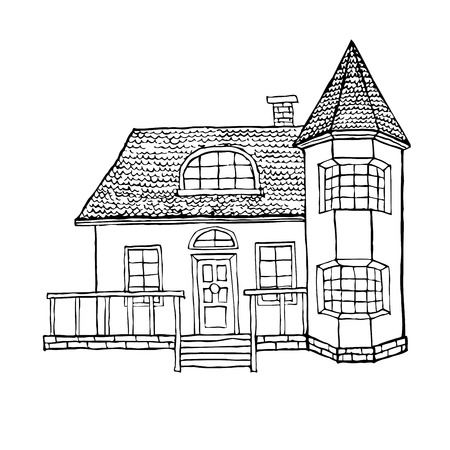 turret: village house with a bay window, a turret, a loft and a terrace. The house in Victorian style. Vector illustration