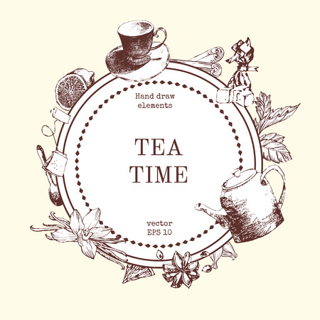 limetree: Vector card design with hand drawn tea illustration. Decorative inking background with vintage tea sketch. Sketched template