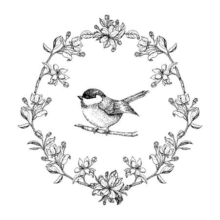 Vector vintage ronde frame met vogels en appel bloemen. Bloemen kroon. Zwart en wit. Fit for trouwkaart, uitnodiging, groeten.