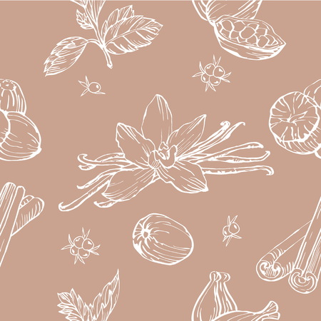 nutmeg: Vector seamless pattern with herbs and spices. Modern stylish texture. Repeating abstract background. Illustration