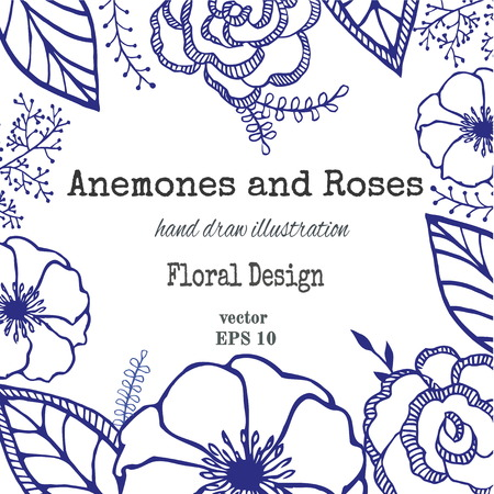 engravings: Vintage floral card with garden flowers. Romantic background. Vector illustration. The composition of a anemones, roses and leaves. Vintage wreath with hand calligraphy. Illustration